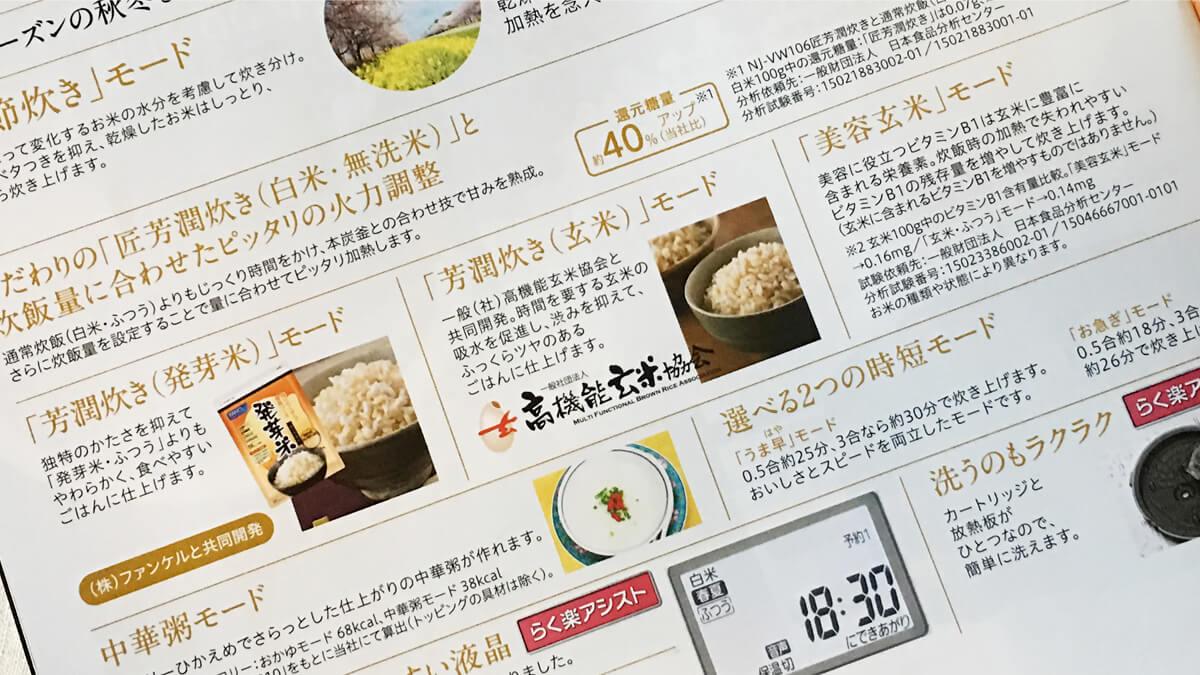 三菱の炊飯器の芳潤炊き(発芽米、玄米)、美容玄米モード