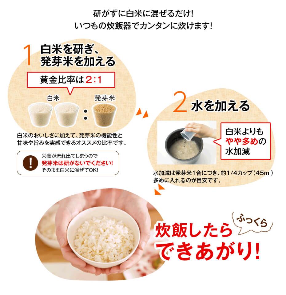 白米に(発芽)玄米を混ぜて炊く、炊き方
