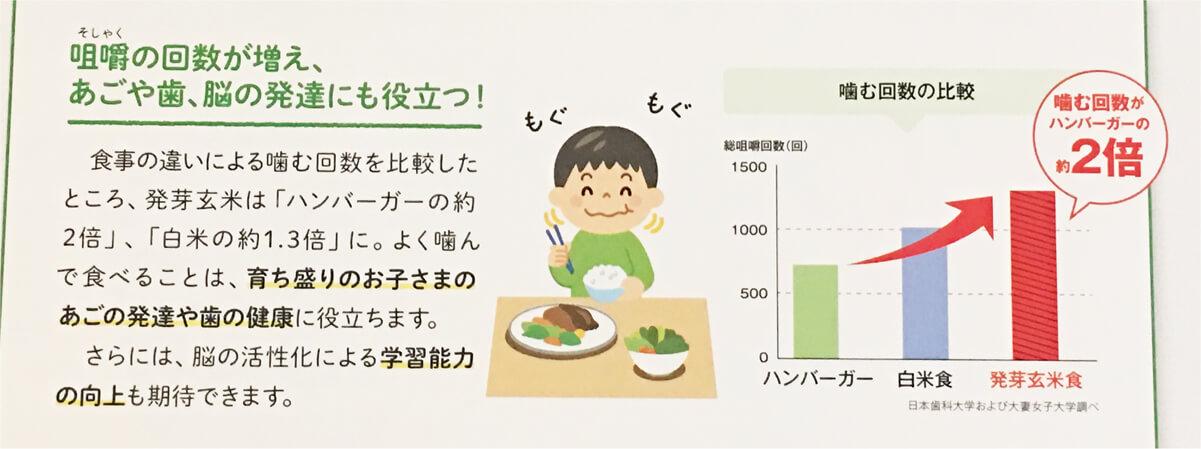発芽玄米食にすると、噛む回数が増える